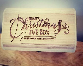 Personalised Luxury Wooden Christmas Eve Box - Engraved Holly Design.