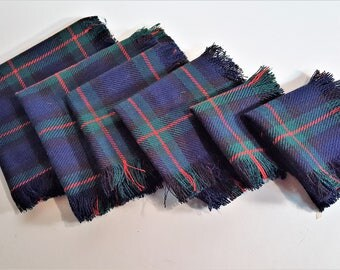 Table Scarves Plaid Wool for Furniture Tables Lamps Candles Christmas Do Dads Dark Green Blue with Red Stripe Vintage Wool  Free Shipping