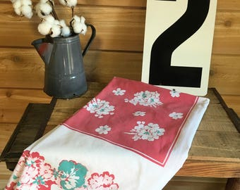 Vintage Tablecloth Red Flower Retro Country Table Linens Decor Fabric  Farmhouse Cottage Repurpose Craft