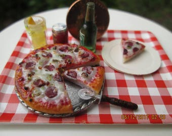 Dollhouse Miniature One Inch Scale 1:12 Pepperoni Pizza by CSpykersMiniaturesUs