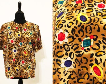 Christie & Jill Silk Vintage 1990's Top / Animal Print Shirt / 90's Printed Tees / 90's Print Shirts / Cheetah Print Tops