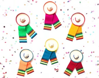 Mini sombrero, mini serape, mexican sombrero, fiesta decorations, mexican party favors, mexican party decorations, fiesta party SET OF 6