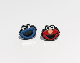 Grover & Cookie Monster Enamel Studs / Sesame Street Studs / Animated Studs / Cookie Monster Studs / Grover Earrings