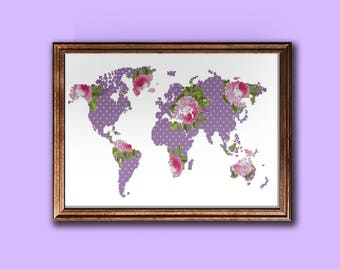 Modern World map cross stitch pattern, floral silhouette map pattern PDF