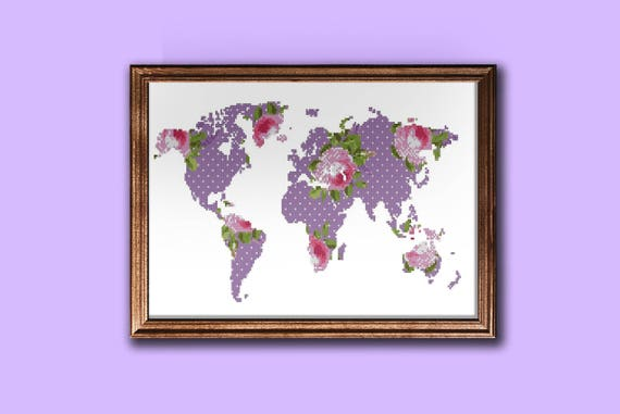 Modern world map cross stitch pattern floral silhouette map modern world map cross stitch pattern floral silhouette map pattern pdf from zephyrmood on etsy studio gumiabroncs Images