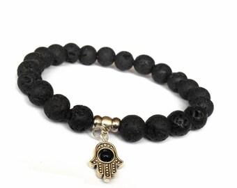 Men Bracelet, Hamsa Lava Bracelet, Hamsa Bracelet, Men Lava Bracelet, Hamsa Hand, Gemstone Bracelet, Protection Bracelet, Good Luck Bracelet