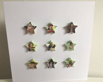 Dreamworks Shrek stars handmade card with Shrek, Princess Fiona, Pinocchio, lord Farquaad, Gingerbread mand & donkey Great for birthdays