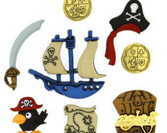 8 buttons and pirate embellishments - buttons - buttons child - B1177247 assortment