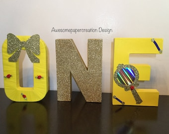 One,paper mache letters,8inches,belle party decorations,beauty and the beast letters,beauty and the beast party,cake smash photo props,