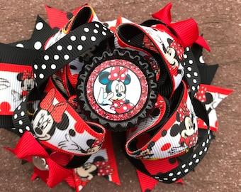 Minnie bow minnie birthday headband Minnie Mouse birthday bow first birthday bow second birthday bow third birthday minnie bow for fir