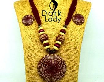 Handmade Terracotta Jewelry Set (Brown & Yellow combination)