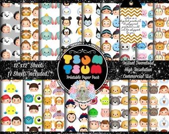 TSUM TSUM Digital Paper Pack, Tsum Tsum Clipart, Tsum Tsum Clip Art, Tsum Tsum Party, Tsum Tsum Birthday, Digital Fabric Design, Commercial