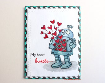 Robot card, Robot valentines day card, Red hearts,card for him, valentine robo,burts with love,watercolor