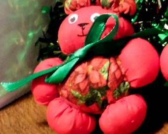 Poinsettia Christmas Bear Ornament