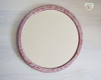 Round 2 Tone Wooden Framed Mirror,  Decorative Mirror, Hand Painted Mirror, Wall Mirror, Funky Wooden Mirror, Round Mirror, Bathroom Mirror