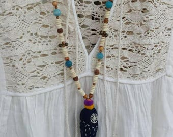 NEW fish necklace wood beads, brass bells. Hand made