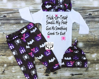 Baby Girl Halloween Outfit,Girl Coming Home Outfit,Custom Name, 1st Halloween,Baby Halloween Outfit,Spiders,Baby Halloween Girl