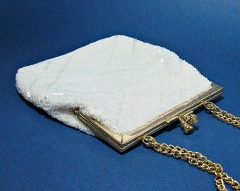Vintage Walborg White Beaded Purse with Gold Chain