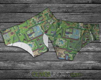 Zelda Map Underwear / Retro Zelda Undies / 8-Bit Zelda Knickers