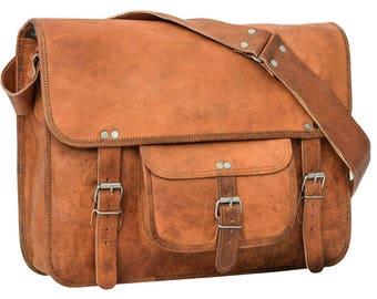 Gusti Leather ' Alex 17 ' large smart Satchel