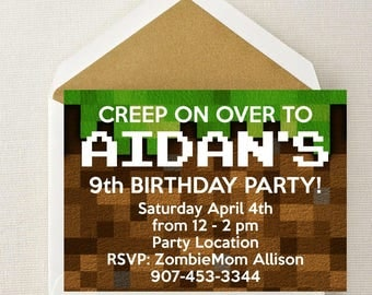 Minecraft Invitation < Minecraft Birthday < Minecraft Invite < Creep on Over < Minecraft < Minecraft Party