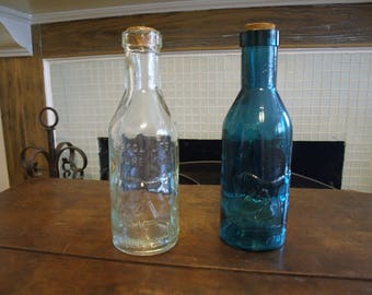 Vintage Milk Bottles - The Milk Protector - Absolutely Pure Milk Embossed Glass – Clear and Dark Emerald Green