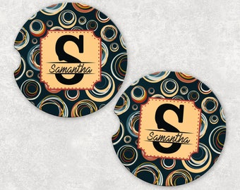 Personalized Car Coasters - Car Coasters Monogram - Circle Car Coasters - Personalized Coasters - Coasters for Car - Monogram Car Coasters