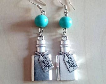 """Earrings """"Drink me"""" 925 sterling silver, theme Alice in Wonderland, faith Creations"""