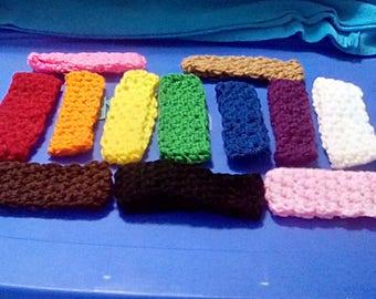 Hand crochet newborn head bands 12 count lots of colors