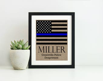 Police Officer Gifts- Thin Blue Line Decor- Police Wife Gift- Police Graduation Gift- Police Officer Christmas Gift- Police Wedding Gift-