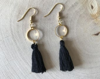 Black tassel and gold connector earrings