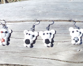 Earrings hook closure fimo Teddies Teddy star stars gift for her fish hook boucles d'oreilles de pâtes d'argile polymer