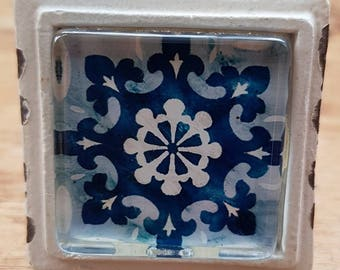 Blue and Cream Mediterranean Mosaic Door / Drawer / Cupboard Knob (2) ~  Upcycling Project
