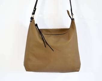 LEATHER HOBO BAG, Women Leather Handbag, Beige Hobo Crossbody Bag, Soft Leather Bag, Leather Purse, Sac Bag - Barcelona Bag -
