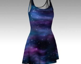 Galaxy Dress, Space Dress, Starry Sky, Night Sky, Dark Dress, Purple Dress, Blue Dress, Flare Dress, Skater Dress, Fitted Dress, Bodycon