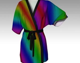 Rainbow Kimono, Kimono Robe, Draped Kimono, Dressing Gown, Rainbow Robe, Beach Coverup, Bridesmaid Robe, Lounge Wear, Swimsuit Coverup, Gift