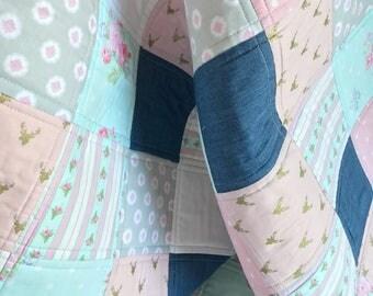 FREE US SHIPPING!! | Aqua & Pink Baby Quilt | Homemade Baby Quilt | Baby Quilt Handmade |  | Baby Girl Quilt in aqua and pink|