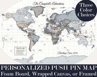Customized Map Print Personalized Push Pin Map Travel Art Cool Pinboard Wedding Gift for Aunt