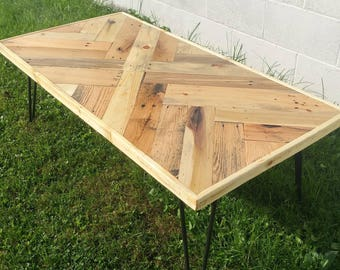 Herring Bone Coffee Table, Reclaimed Pallet Wood Coffee Table