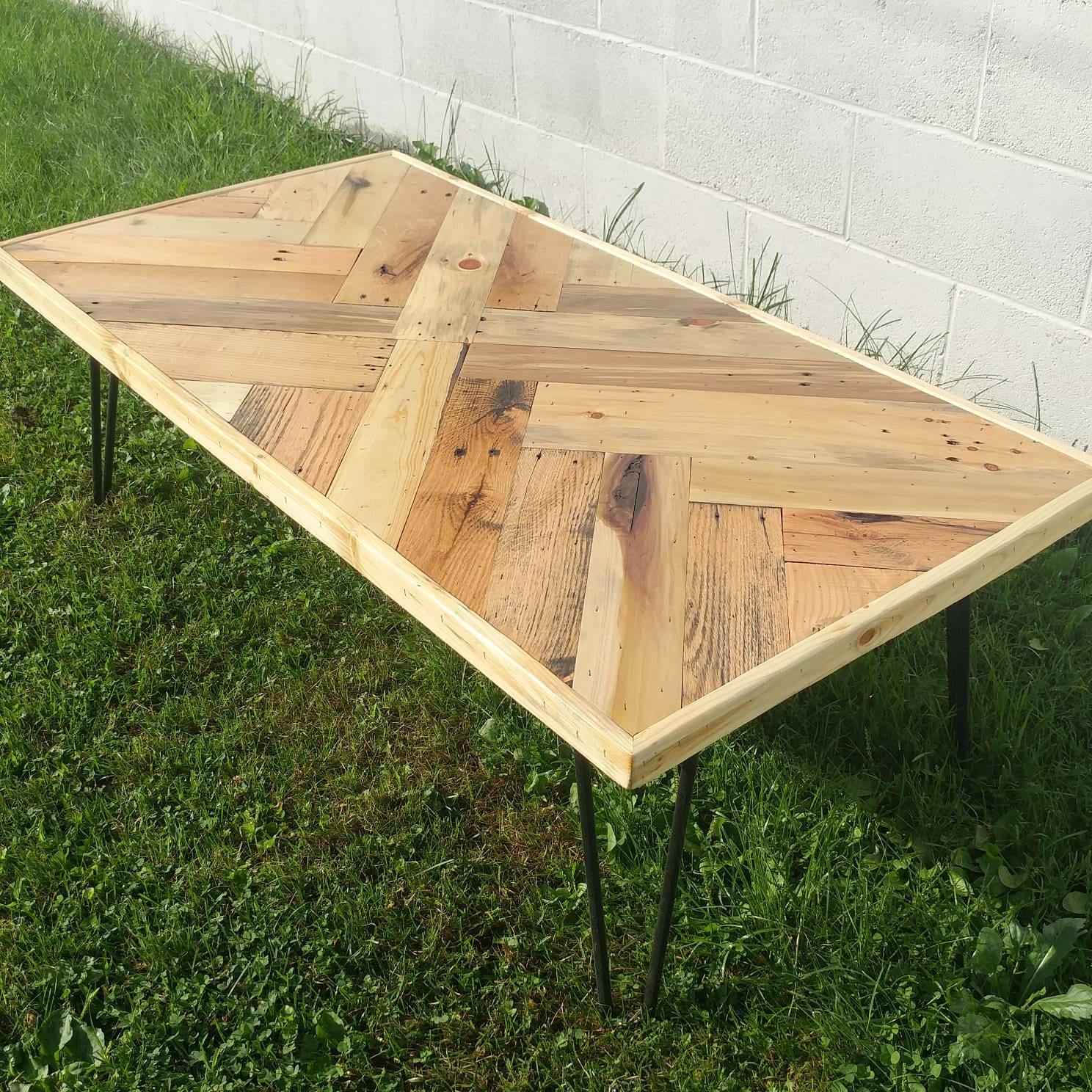 Reclaimed Wood Herring Bone Coffee Table