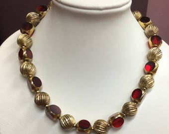 Vintage Gold Tone Red Glass Bead Choker Necklace