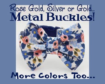 Rifle Paper Co. Periwinkle Blue Rosa & Bow Dog or Puppy Collar