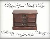Custom Wood Jewelry Box, Hand Painted Jewelry Chest, Upcycled Jewelry Organizer, Girls Jewelry Box, Monogrammed Jewelry Box, Personalized