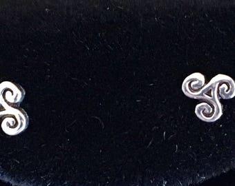 Sterling Silver Tri-Swirl Earrings