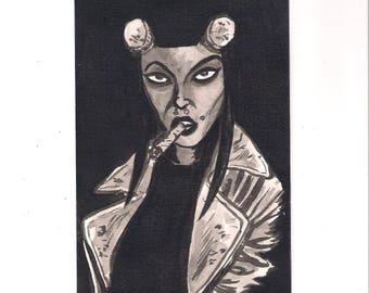 "HELLGIRL ink portrait 4"" x 6"""