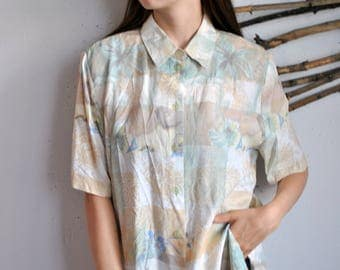 Abstract print short sleeve shirt 1990s 1980s vintage womens hipster 70s blouse