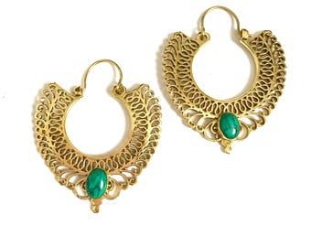 Brass earrings,Indian tribal hoop earrings, mandala earrings, brass hoop earrings, boho earrings, vintage gold earrings, gypsy earrings