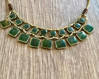 Afghan jewelry,jade necklace,kuchi necklace, ethnic jewellery ,bohemian jewelry, boho jewelry, waterfall necklace, gift , Gypsy