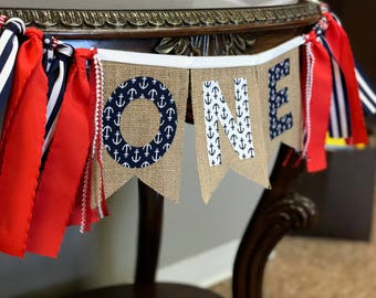 Nautical Birthday / Anchor Bannner / 1st Birthday Banner / One Banner / Nautical banner / Boy First Birthday / Summer Birthday Party