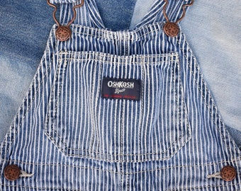 Vintage OSHKOSH B'GOSH Bib OVERALLS Size 24 Mos. Classic Denim Hickory Stripe Shortalls | The Genuine Article
